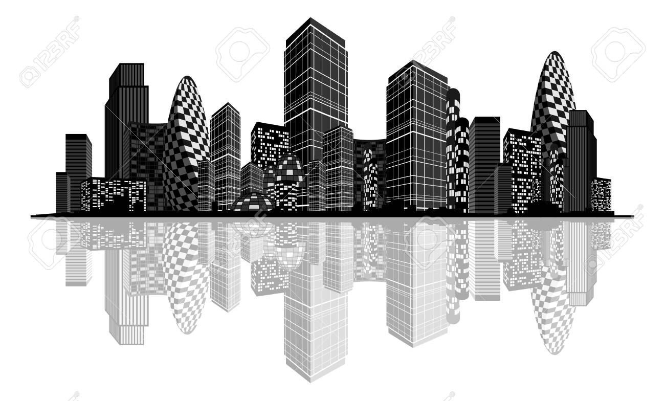 Vector illustration of an abstract city silhouette - 87041485