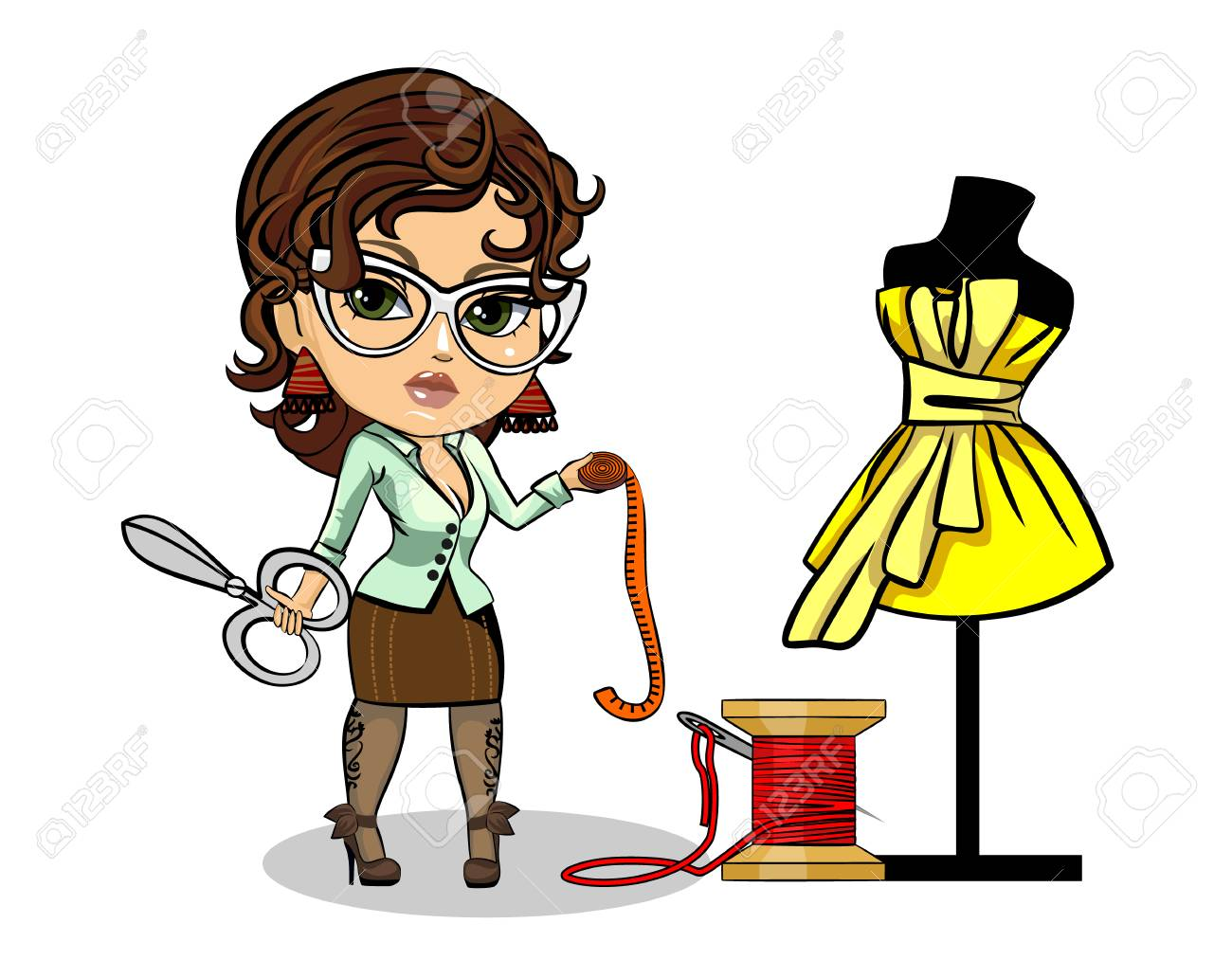 Vector illustration of a tailor designer clothes - 87041492