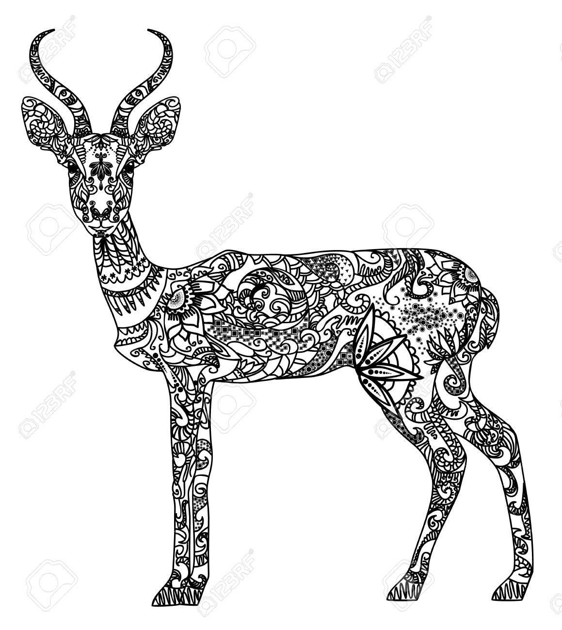 Vector illustration of a beautiful patterned antelope - 88309827