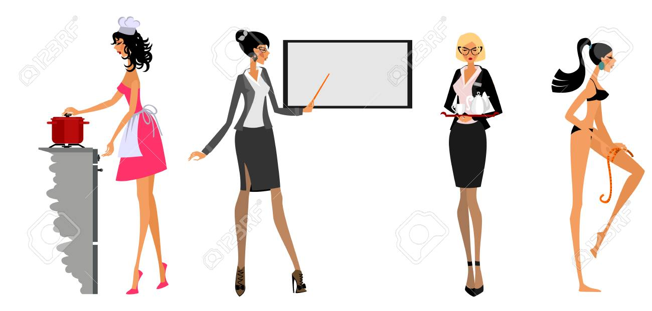 Vector illustration of modern women in different situations - 88524095