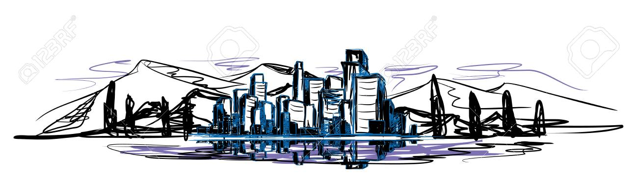 Vector illustration of urban landscape in three colors - 88524102