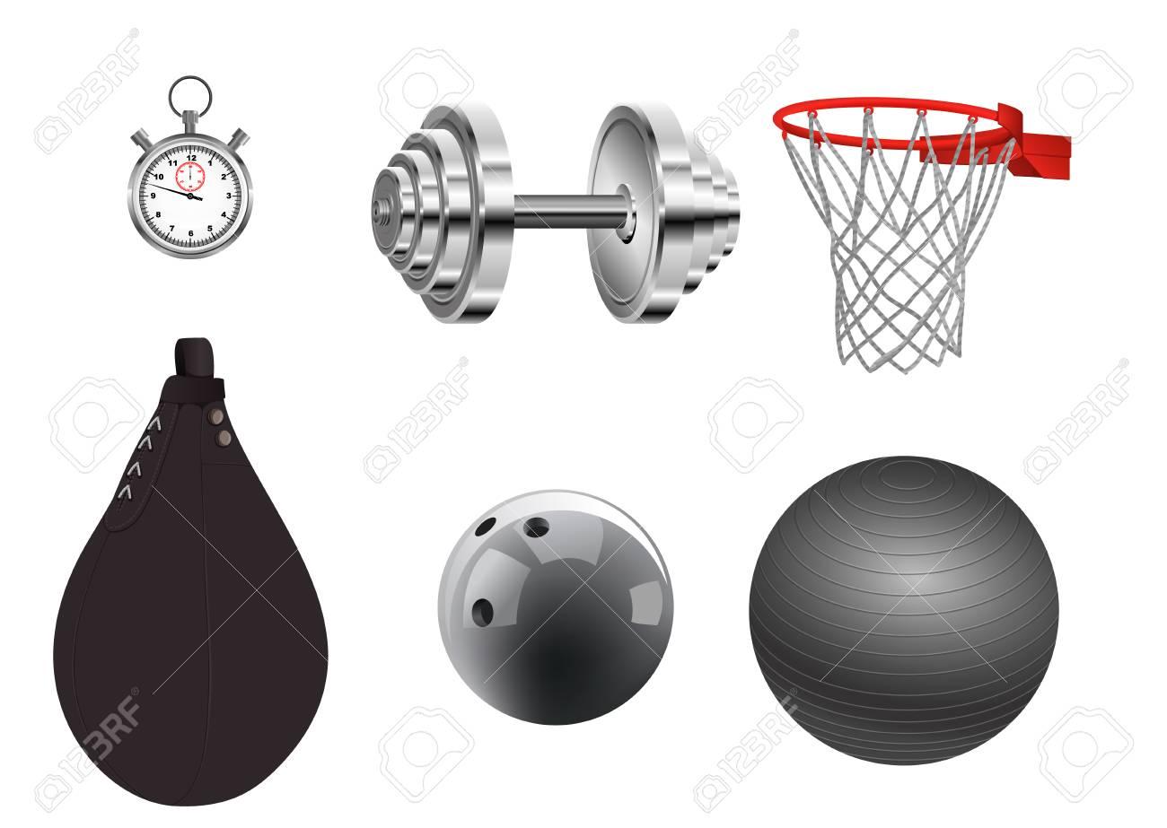 Vector illustration of sports equipment on white background - 88524108
