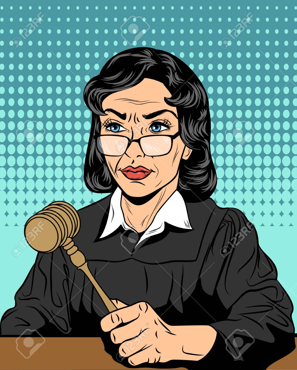 Vector illustration of a strict judge with a hammer - 88634925