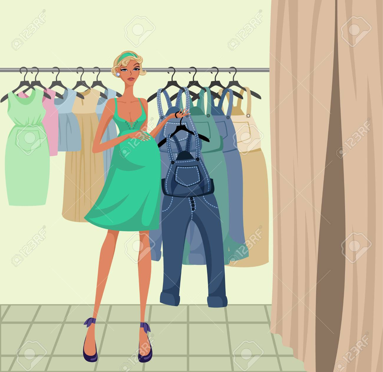 Vector illustration of a pregnant girl trying on clothes - 88634920