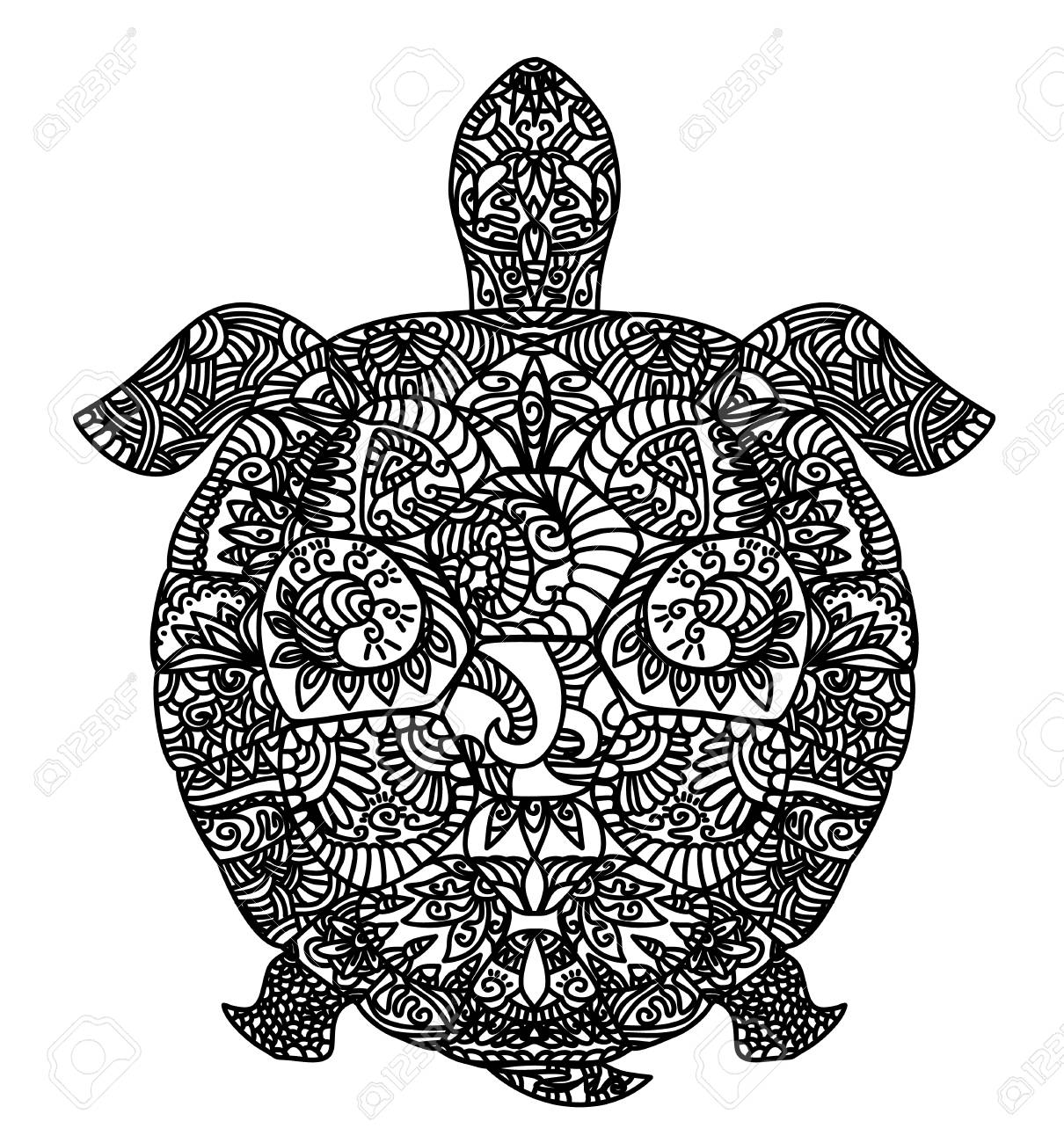 Vector illustration of a patterned turtle on white - 90422485