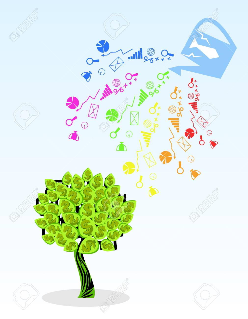 Vector illustration of a money tree and its components - 90422491