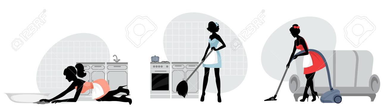 Vector illustration of silhouettes of women cleaning floors - 90922738