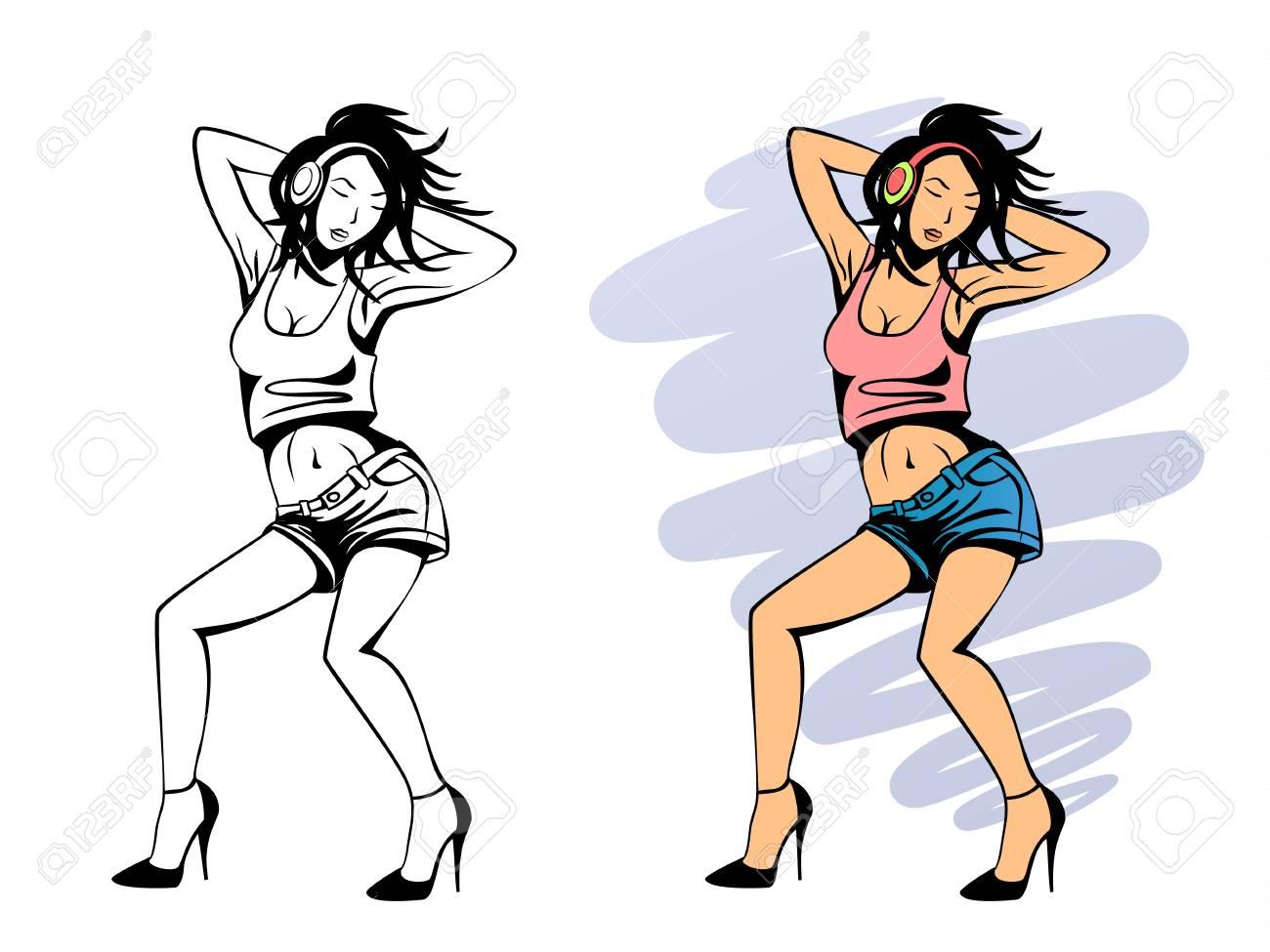 Vector illustration of dancing girl with headphones - 90922780