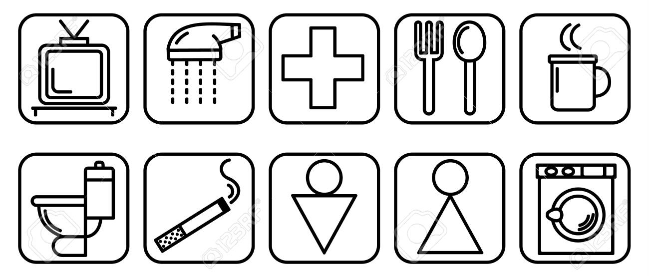 Vector illustration of set of icons to destination rooms - 90922785