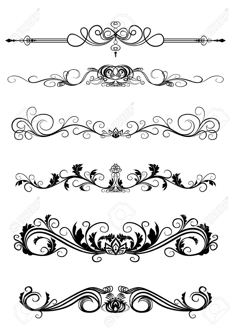 Vector illustration of set of curls to frame - 90922786