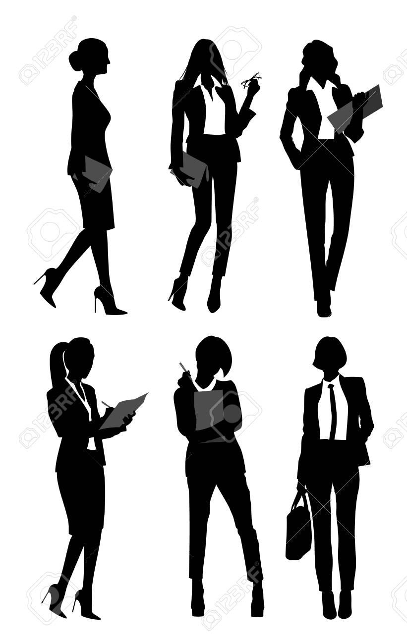 Vector illustration of six silhouettes of businesswomen - 90922791