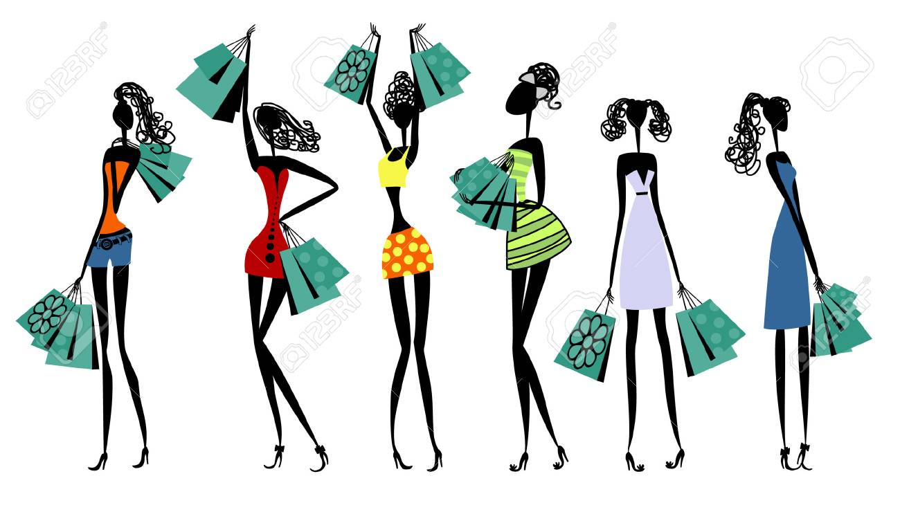 Vector illustration of silhouettes of women with shopping - 90922794