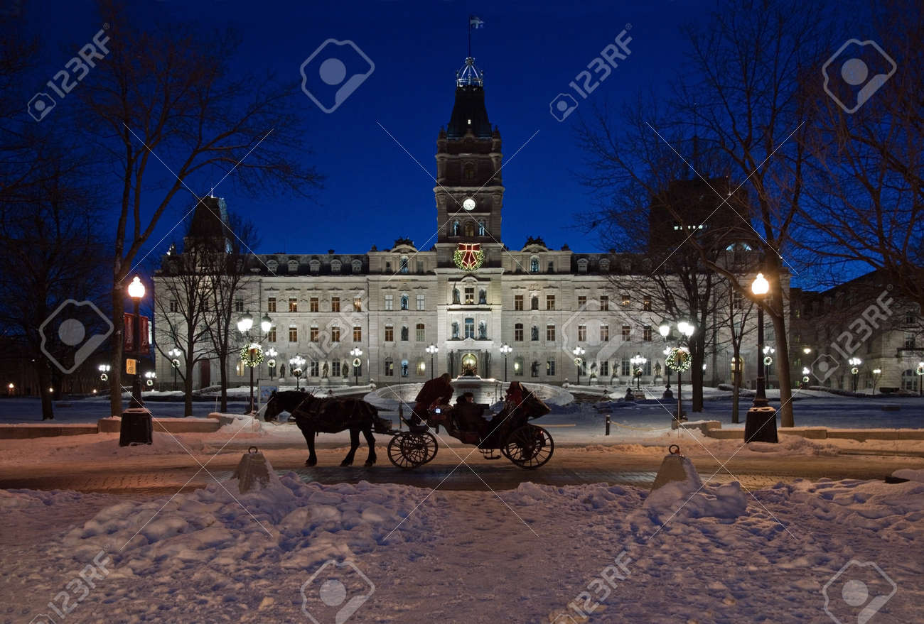 Quebec parliament building in winter night time Stock Photo - 14004556