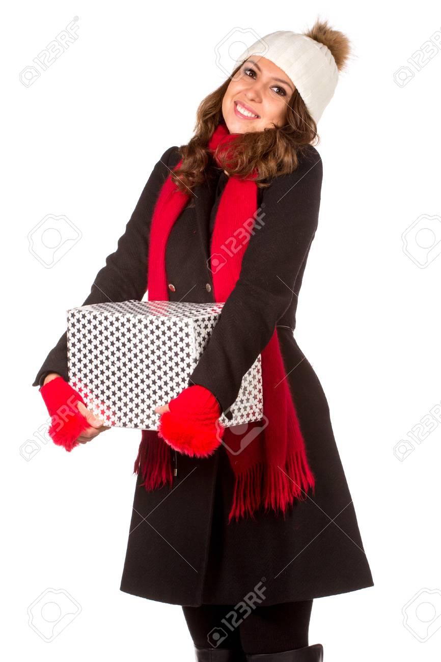 Junge Und Schöne Frau, Die Ein Schönes Weihnachtsgeschenk. Isoliert ...