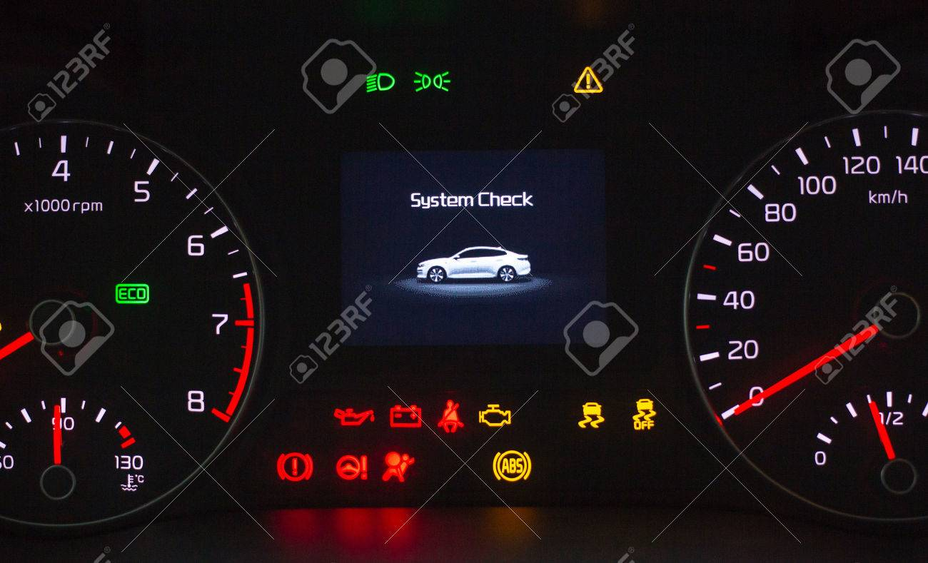 Sustem check on engine start  Speedometer and tachometer with
