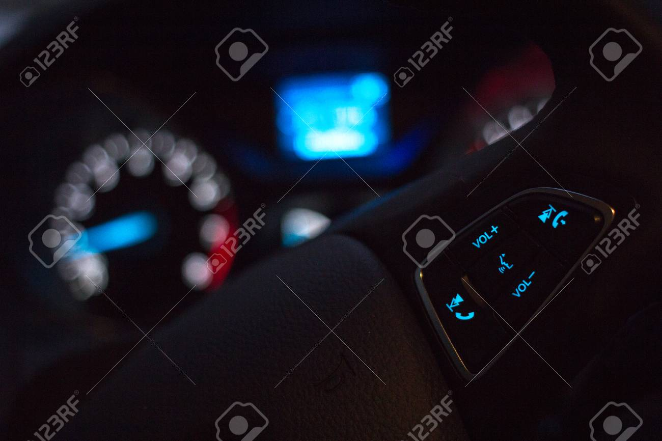 Steering Wheel On Modern Car Dashboard Background At Night Selective Stock Photo Picture And Royalty Free Image Image 70198041