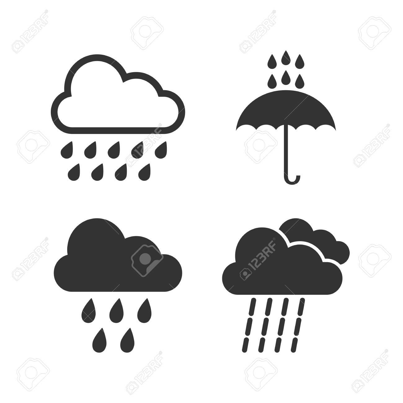 Cloud rain icon  Vector illustrations Flat