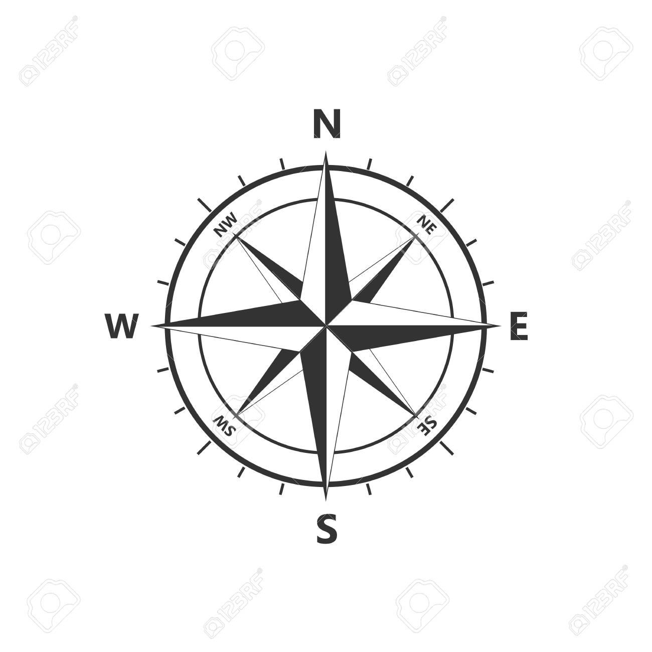 vector icon Compass rose, navigition icon. Vector illustration, flat design - 124934977