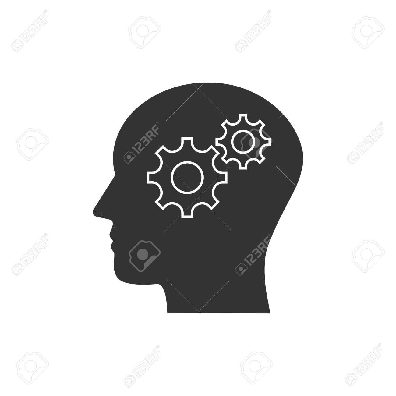Vector illustration, flat design. Head, gear solution idea icon - 124158023
