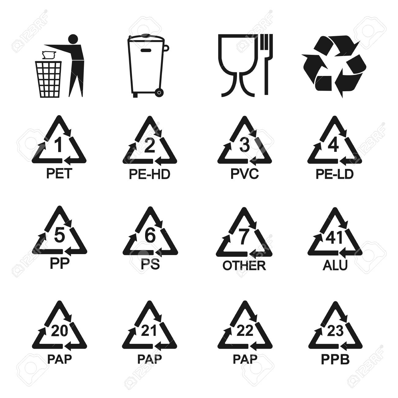 Packaging recycling icons set. Vector illustration, flat design. - 123197635