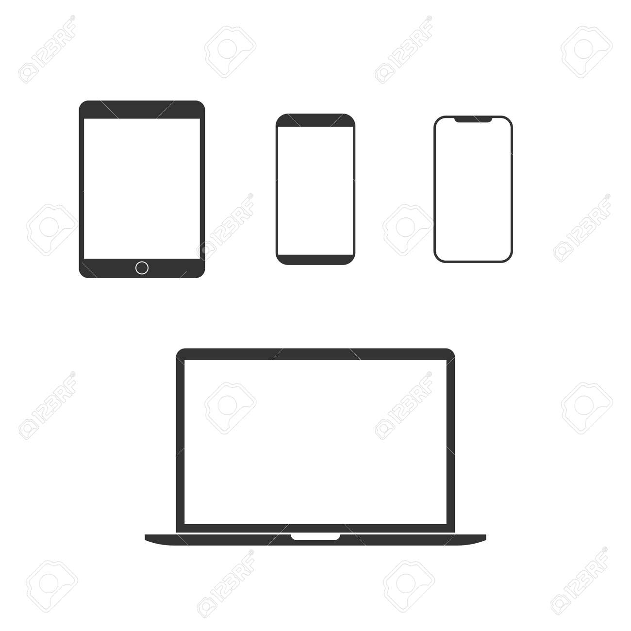 Vector illustration, flat design. Electronic devices icon set - 123207079