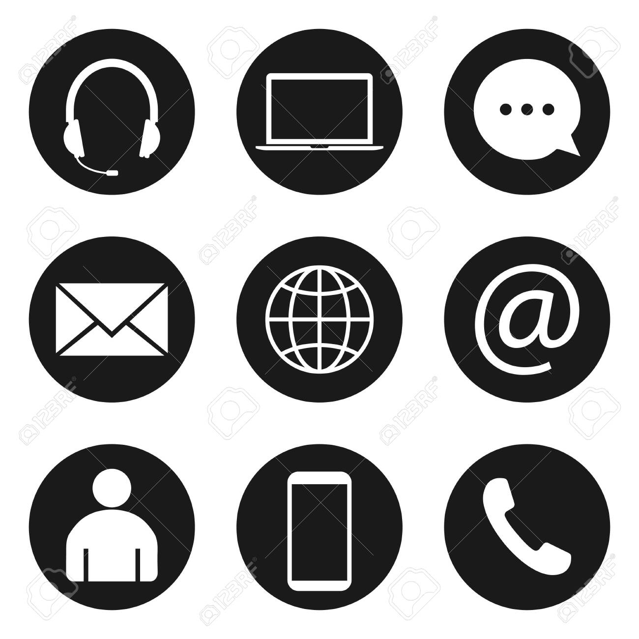 Contact Icon set. Vector illustrations. Flat design. - 138894863