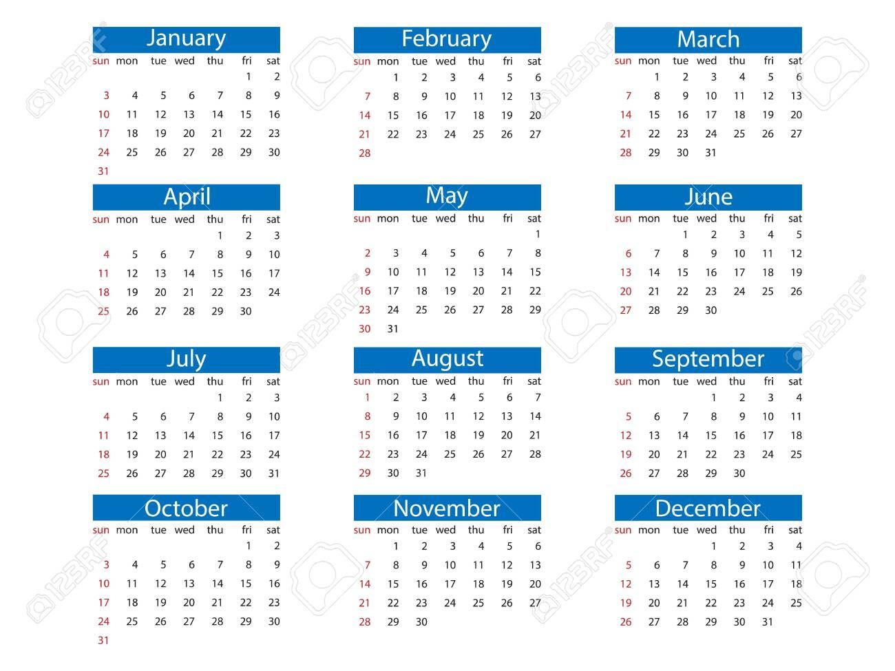 20 Calendar, Week Starts Sunday Flat Royalty Free Cliparts ...
