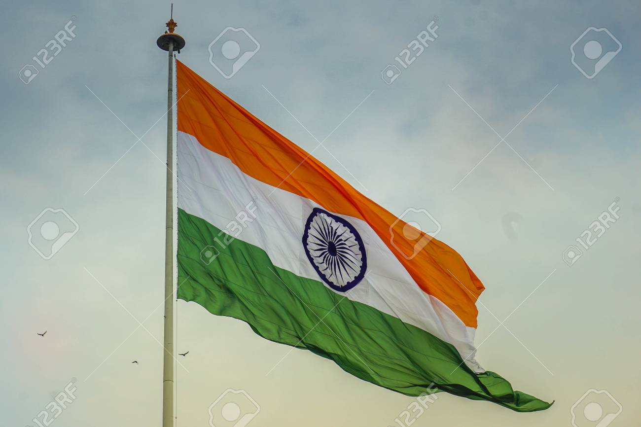 Indian flag waving in the wind - 108829768