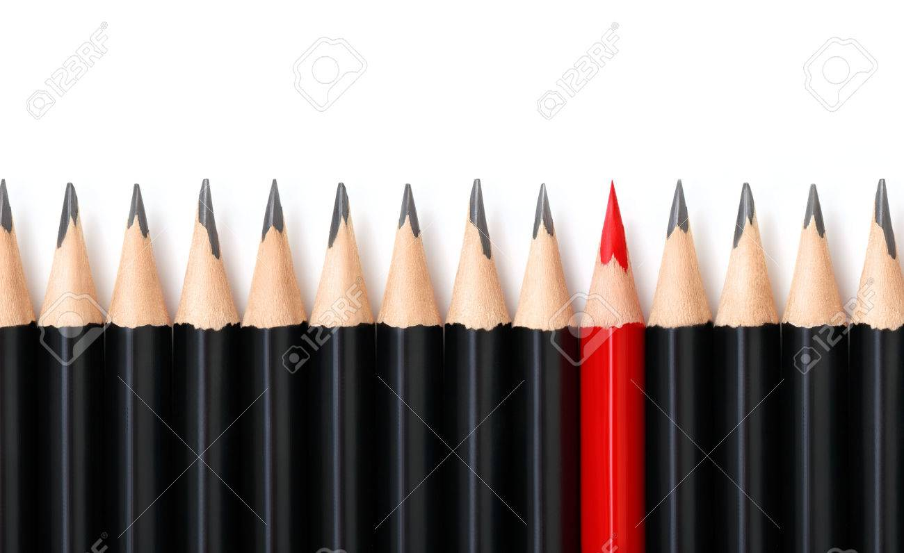 Red pencil standing out from crowd of plenty identical black pencils on white background. Leadership, uniqueness, independence, initiative, strategy, dissent, think different, business success concept - 54783195