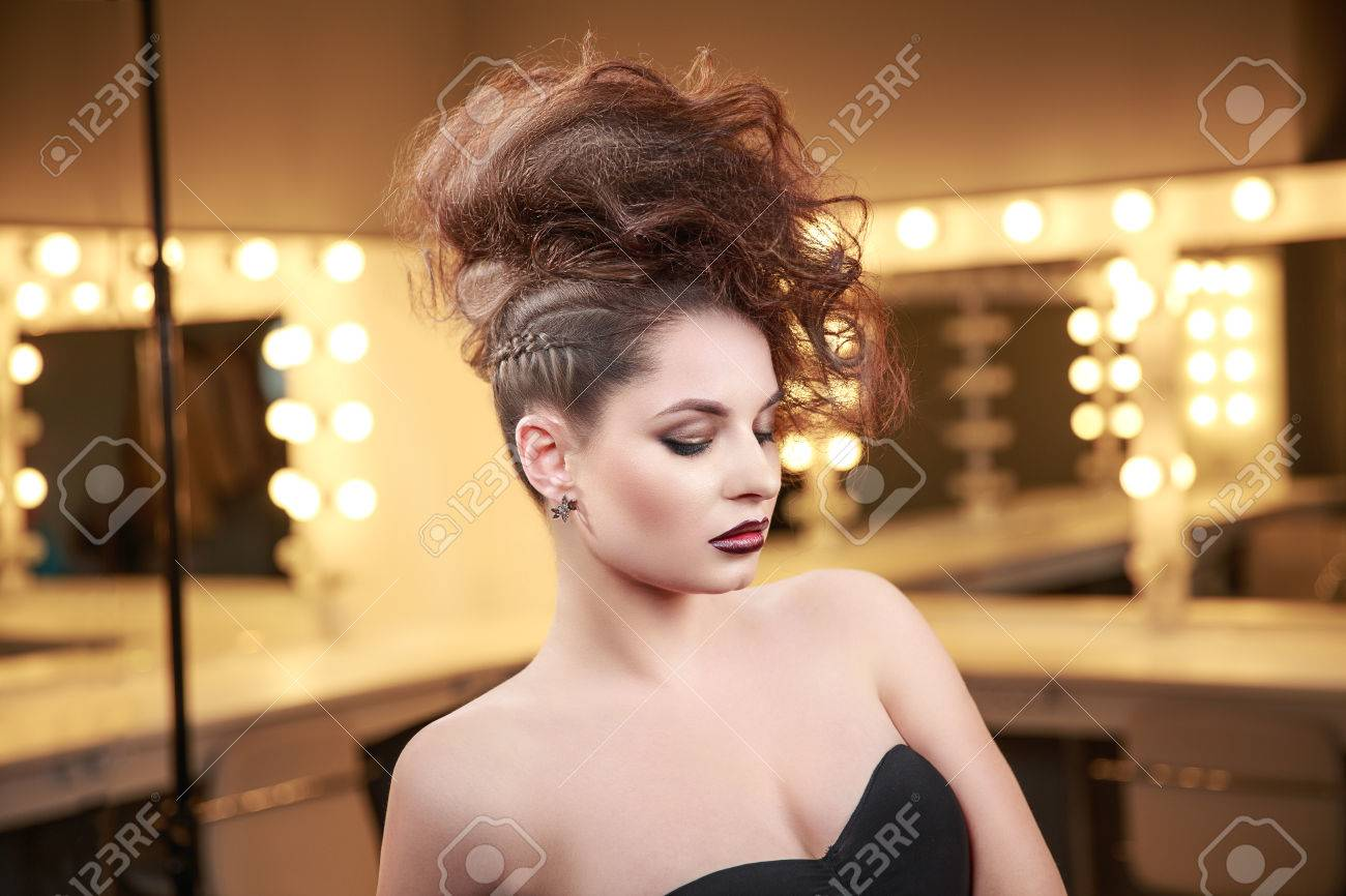 High Fashion Model Girl With Mohawk Hairstyle Beauty Woman With