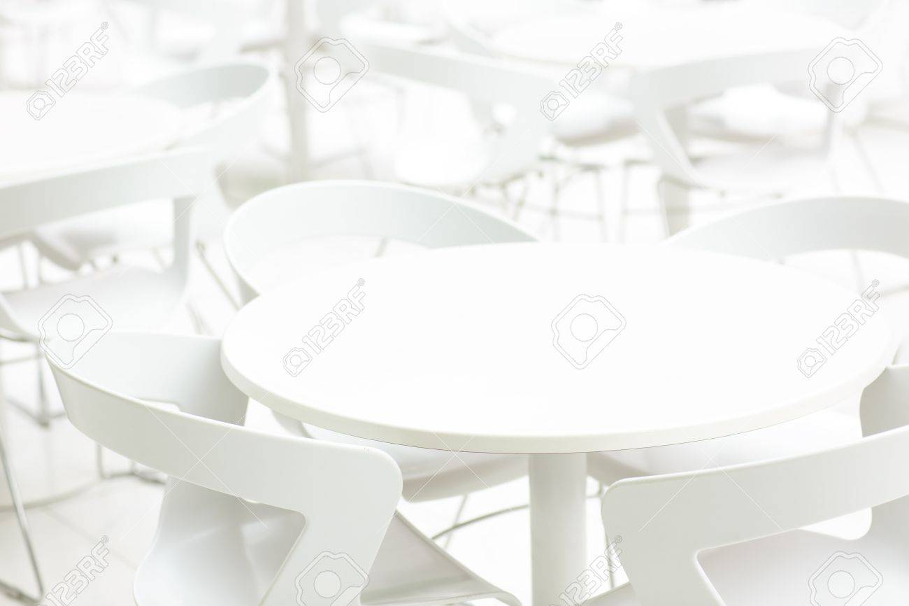 Groovy Empty White Interior Of Tables And Chairs Infinity Perspective Lamtechconsult Wood Chair Design Ideas Lamtechconsultcom