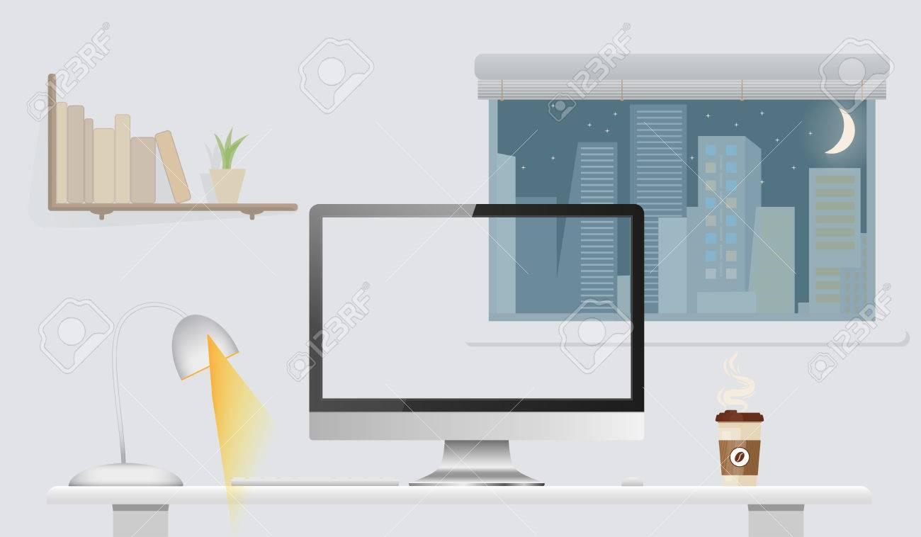 Blank Computer Monitor Ohne Bildschirm Auf Dem Tisch Im Buro Zu