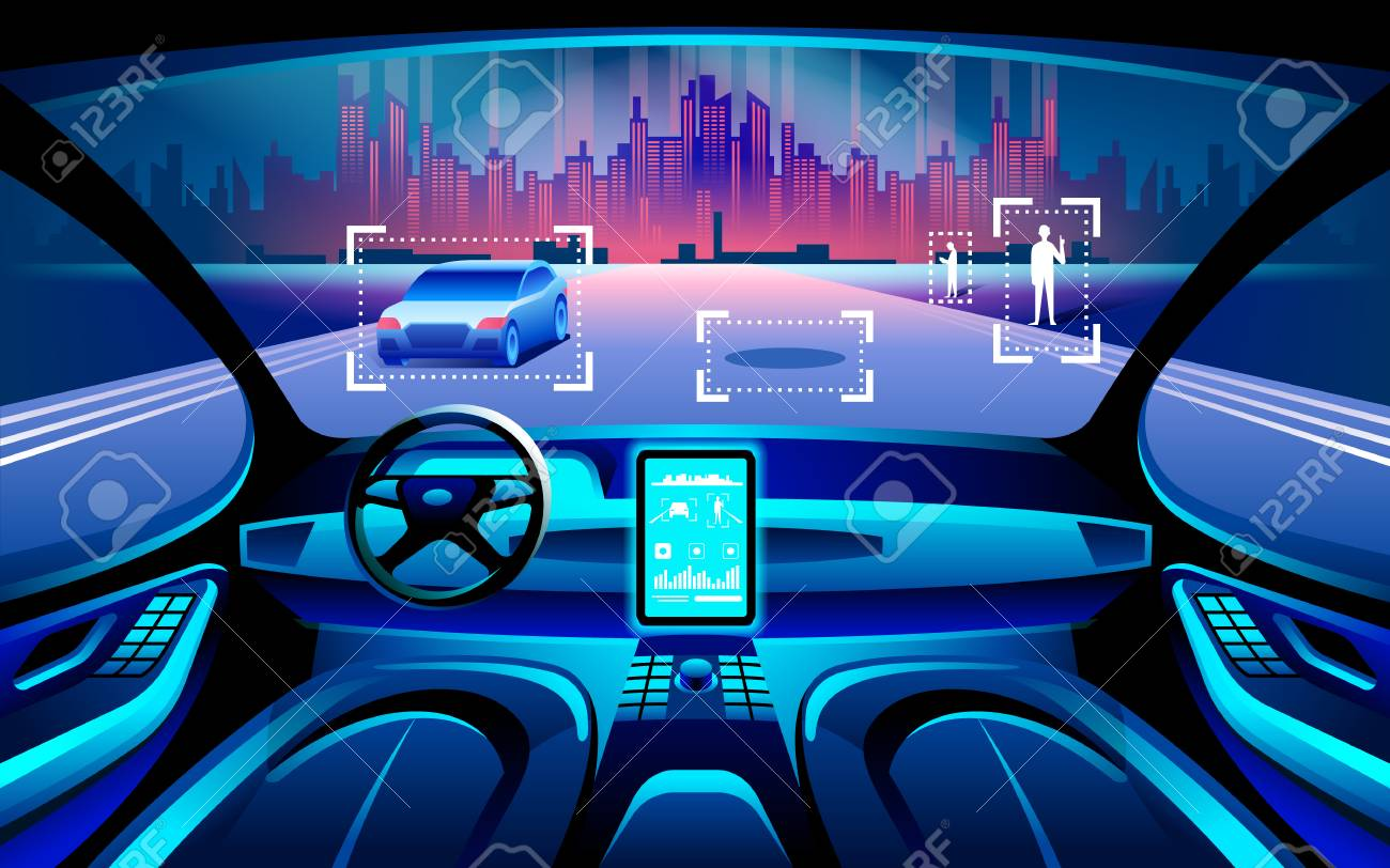 Autinomous smart car inerior. Self driving at night city landscape. Display shows information about the vehicle is moving, GPS, travel time, scan distance Assistance app. Future concept. - 90083749