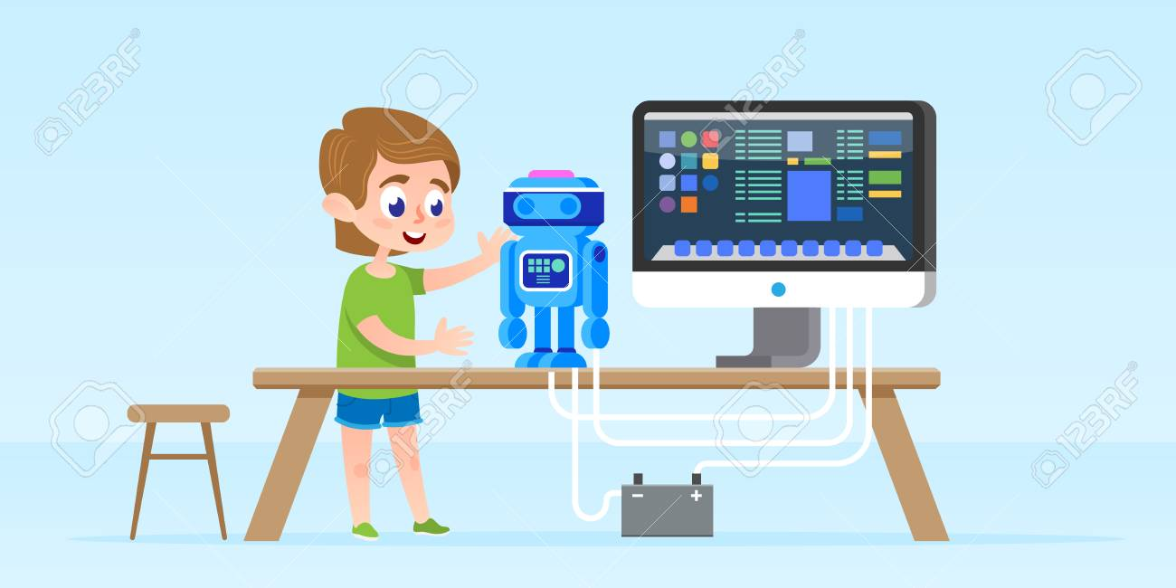 Little boy creating and programming smart robot. - 90080969