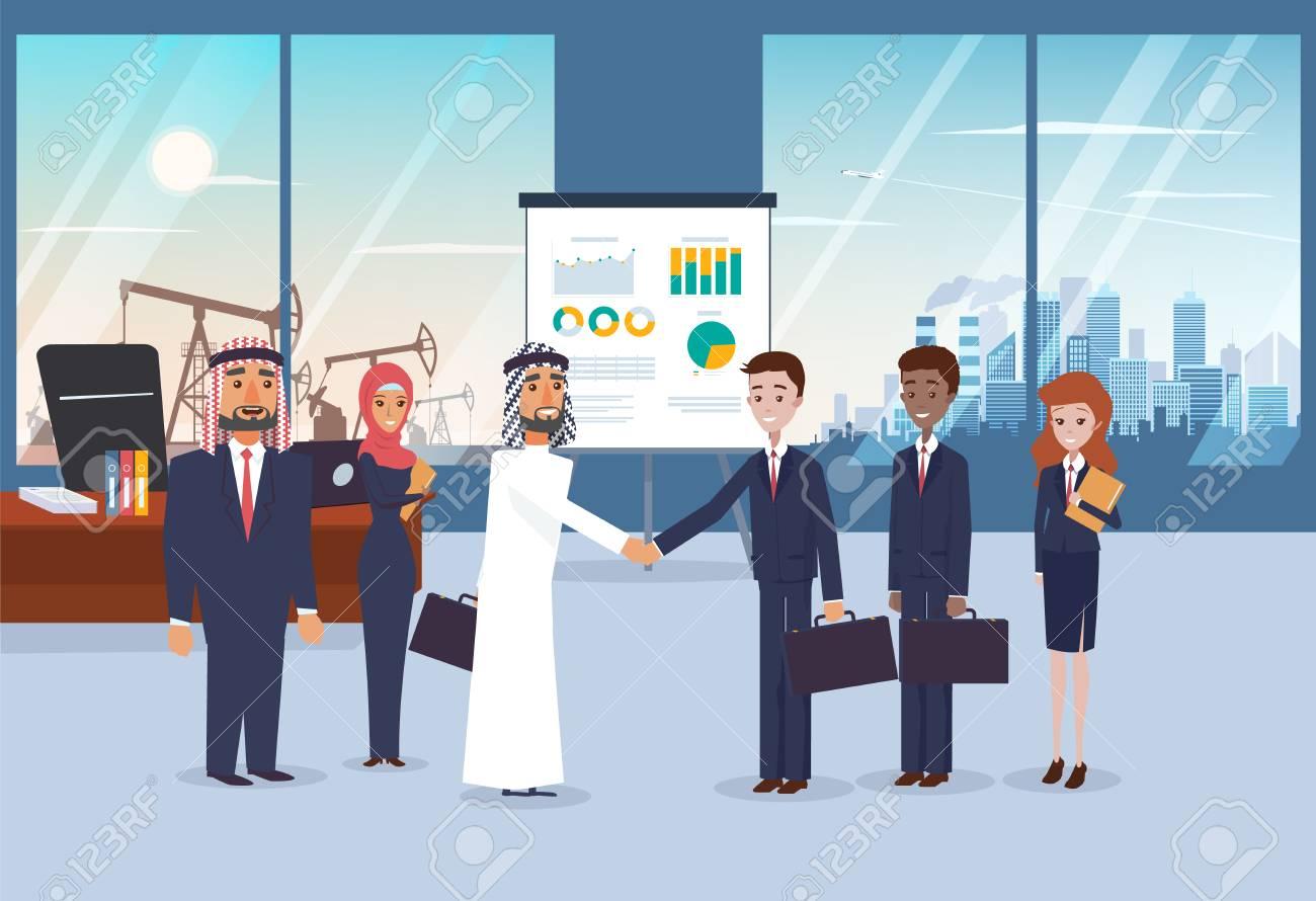 Reunión De Negocios Con Socios árabes En La Oficina Moderna. Paisaje ...
