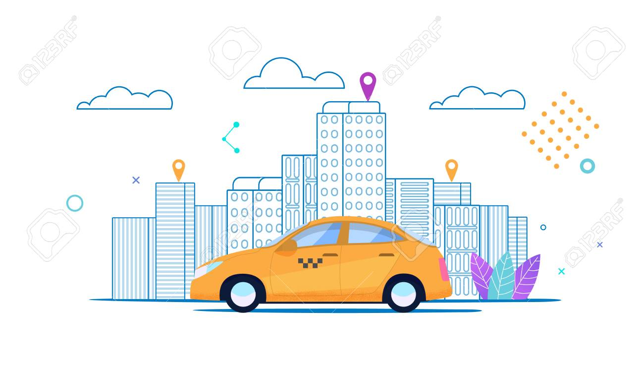 Flat banner City Yellow Taxi Rides Ordered Route. Round Clock Taxi Order. Quality Service. Colorful Cityscape. Driver Location. Application Cards for Passenger and Driver. Light Architecture. - 125143902