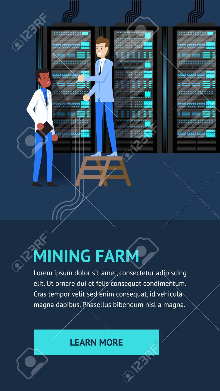 Mining Farm Crypto Currency Datacenter Administration  Man Character