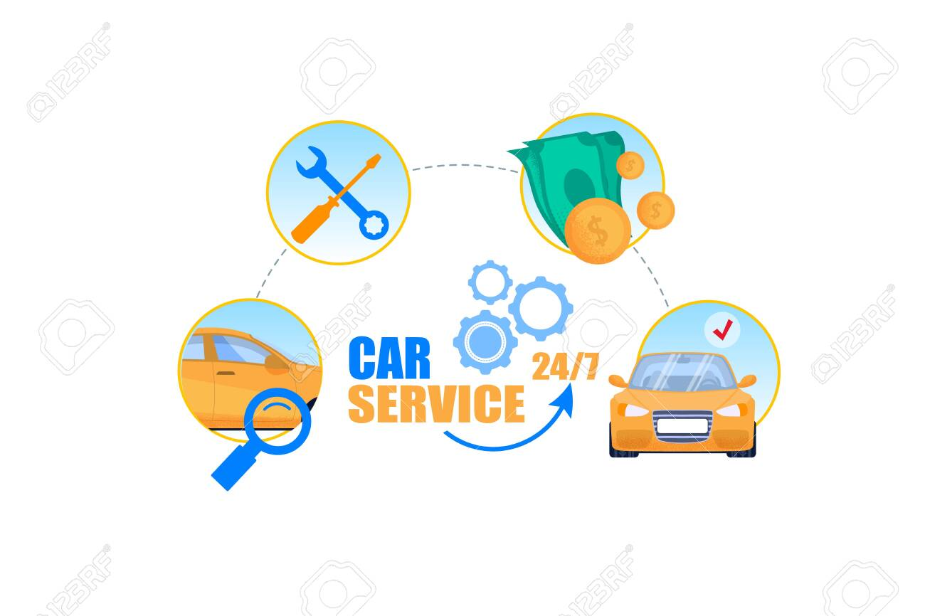 Car Service Cycle Concept Professional Repair Shop 24 Hour Royalty Free Cliparts Vectors And Stock Illustration Image 121020810