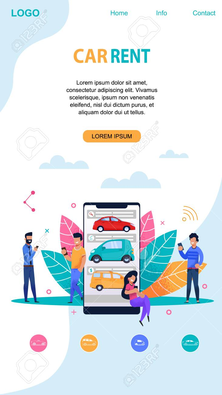 Car Rent Mobile Page Layout With Memphis Symbol. Flat App Template Car Rent Mobile Home on mobile home beautiful, mobile home company, mobile home decoration, mobile home road trip, mobile home sold,