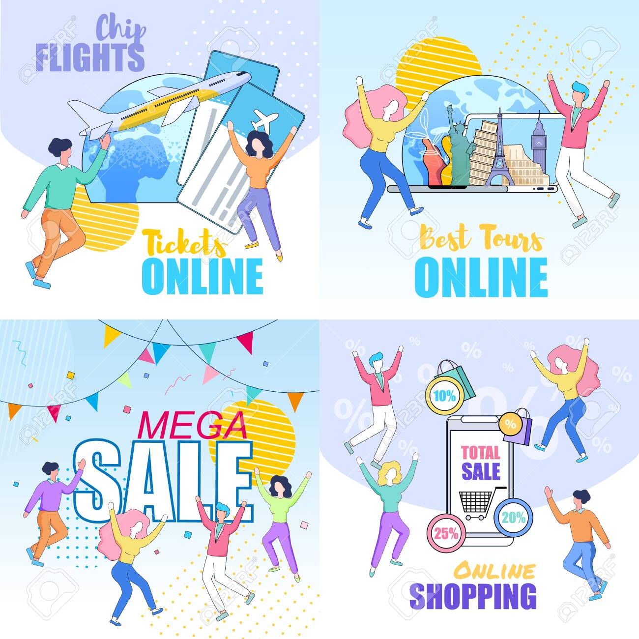 Square Banners Set With Happy Dancing People On Colorful Background Royalty Free Cliparts Vectors And Stock Illustration Image 123725676
