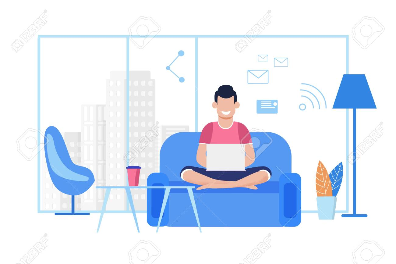 Young Cartoon Guy Works on Laptop at Comfortable Coworking Office or at Home. Freelancer Typing Message, Sending Email, Chatting Social Media Using Wi-Fi, Sitting on Sofa. Vector Flat Illustration - 123299489