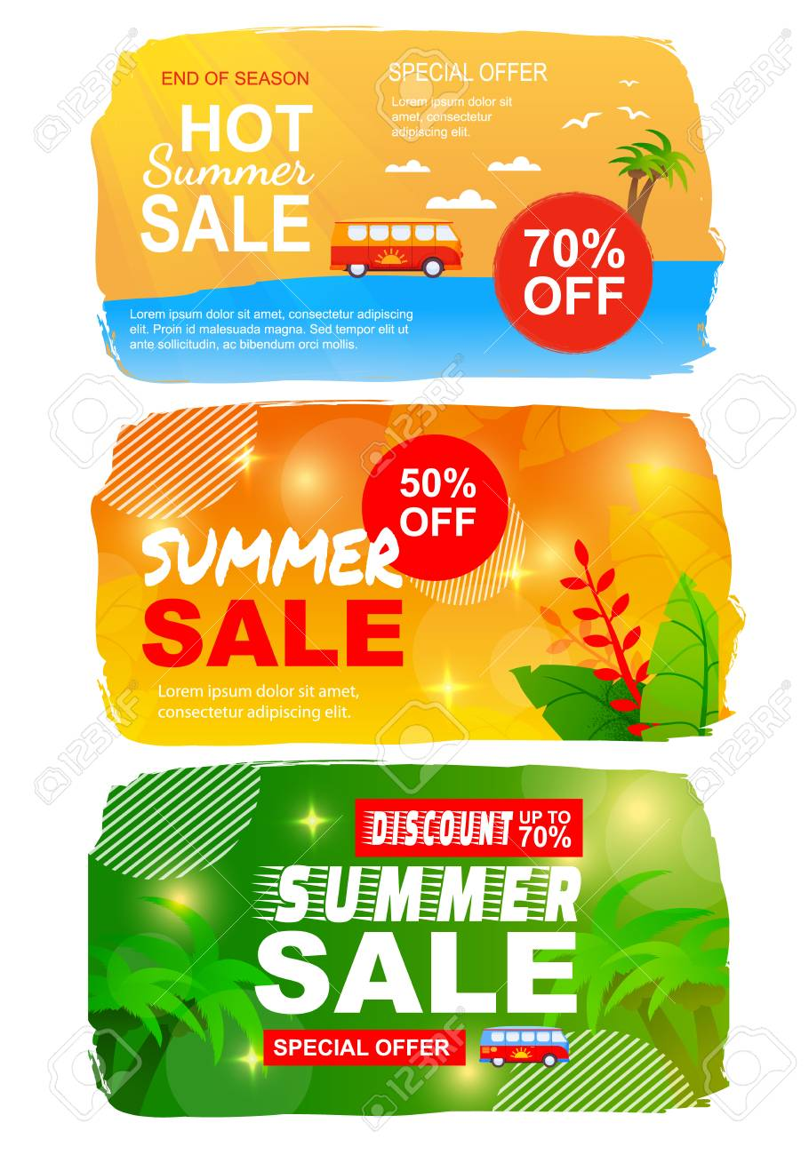 photo regarding Printable Banner Templates referred to as Flat Summer time Income Fastened with Easiest Seasonal Deals. Printable Banner..