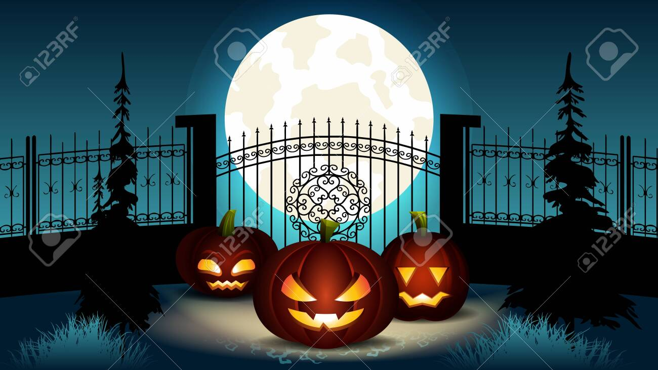 Halloween Cartoon Illustration. Group of Pumpkin Lantern with Different Face Expression and Inner Glowing Light near Fance with Castle Gate. Spooky Full Blue Moon at Night. October Holiday. - 131056868