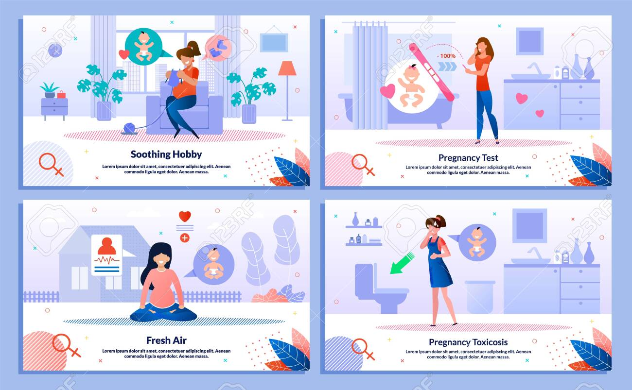 Pregnancy Test Positive Result, Pregnant Woman Hobby, Outdoor Activity, Morning Sickness Trendy Flat Vector Banner, Poster Set. Woman Feeling Nausea, Meditating, Looking on Test, Knitting Illustration - 136965029
