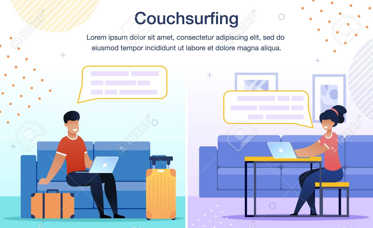 Online Service Trendy Flat Vector Ad Banner, Promo Poster Template. Traveling Man, Male Tourist Surfing in Internet, Searching Place to Stay, Messaging to Network Member Illustration - 151463368
