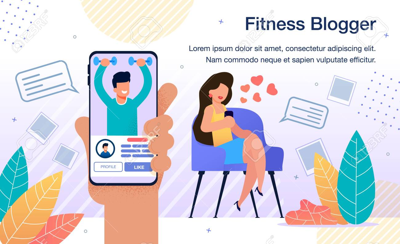Popular Fitness Blogger, Fitness Model or Famous Athlete Activity in Social Network Banner, Poster. Woman Following on Sportsman, Fitness Trainer Blog with Smartphone Trendy Flat Vector Illustration - 143153885