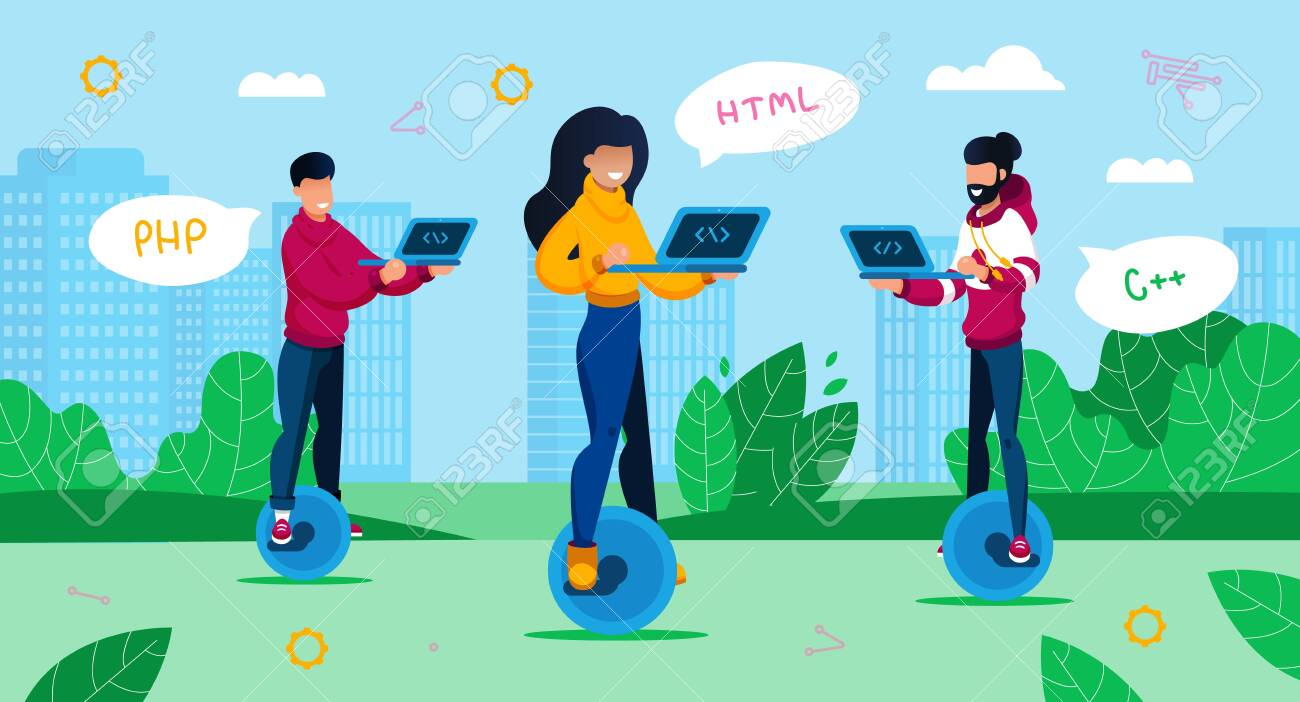 Digital Era Professions, Geek Culture Trendy Flat Vector Concept. Female and Male Programmers, IT Industry Freelancers, Students Using Laptop, Writing Code, Riding Unicycles in City Park Illustration - 143153886