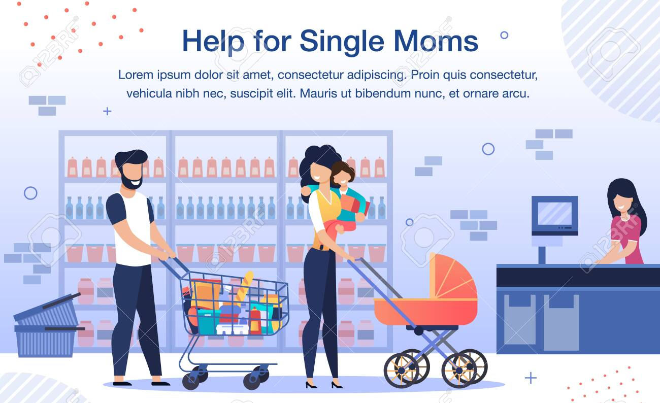 Social Help for Single Mother Trendy Flat Vector Banner, Poster Template. Volunteer, Man Going on Shopping in Grocery Store with Woman and Children, Helping Single Parent to Carry Goods Illustration - 143153894