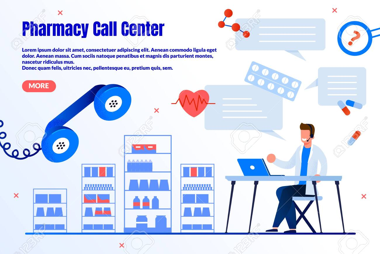 Pharmacy Call Center Trendy Flat Vector Web Banner, Landing Page Template. Male Pharmacist, Pharmacy Worker Counseling Customers Online, Chatting with Clients in Internet, Answering Calls Illustration - 143153895