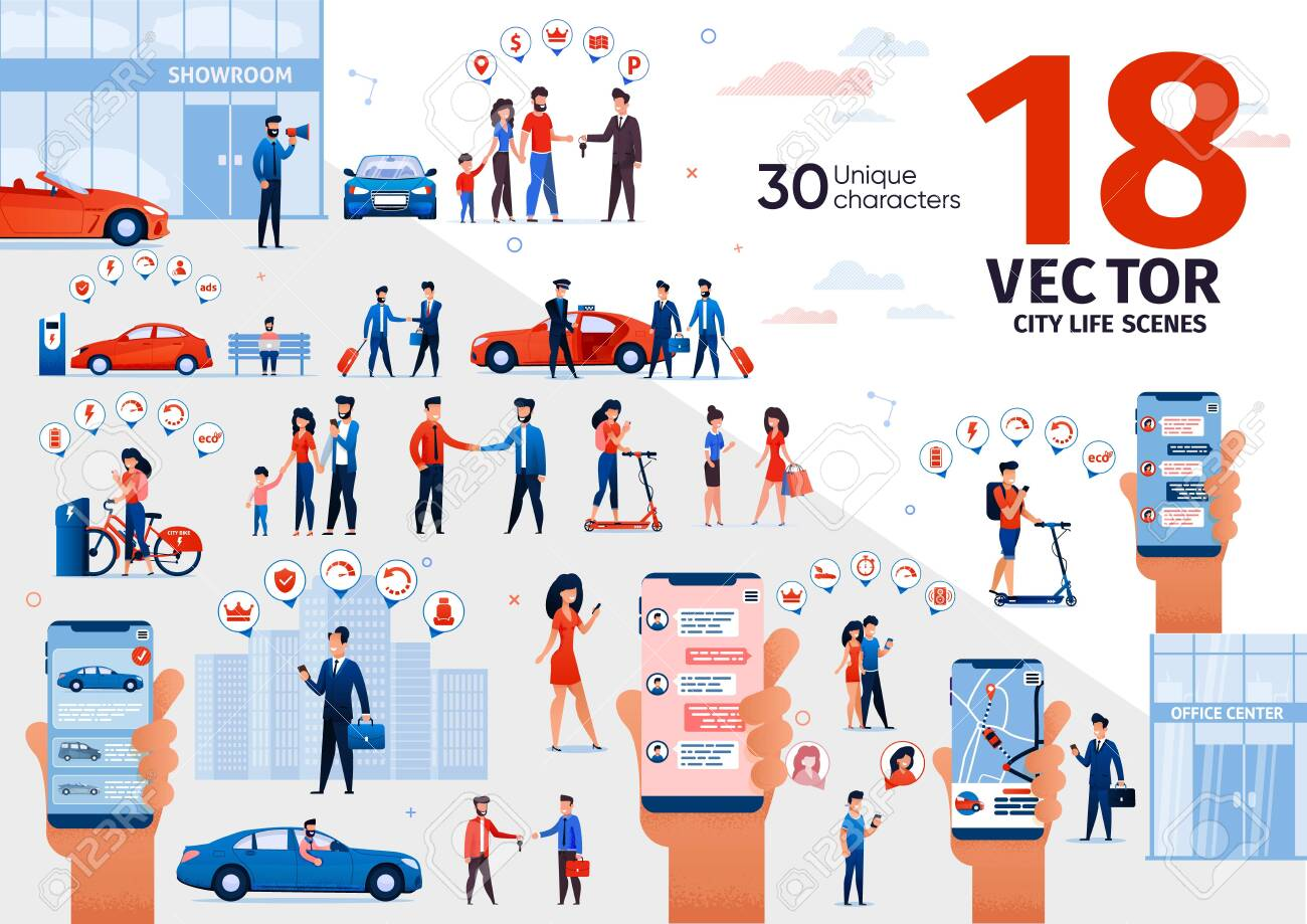 City Life Scenes, Urban Transport, Automobile Purchasing and Owning, Online Messaging with Cellphone Trendy Flat Vector Set. People Buying Car, Riding Scooter, Chatting in Messenger Illustrations - 143153934